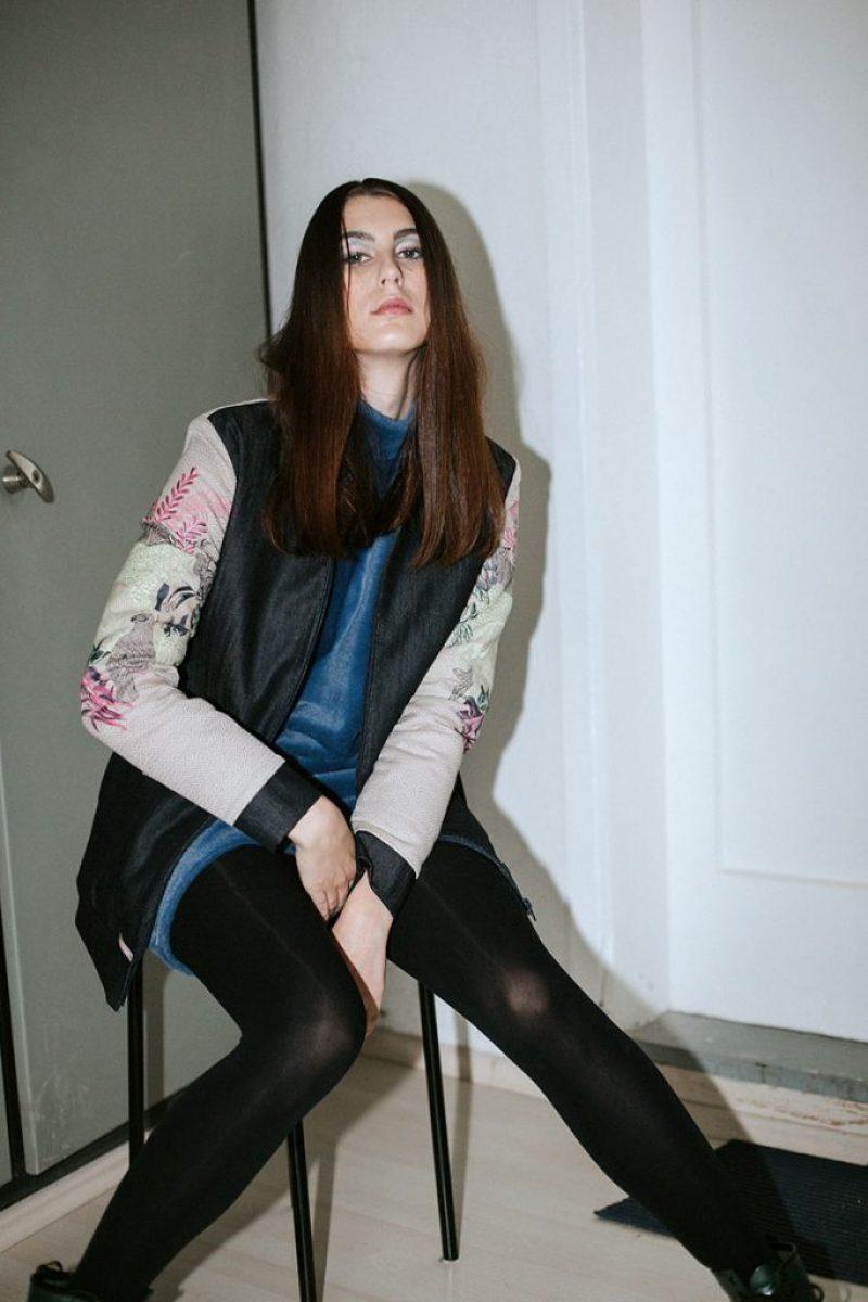 NEON RABBIT Denim jacquard jacket